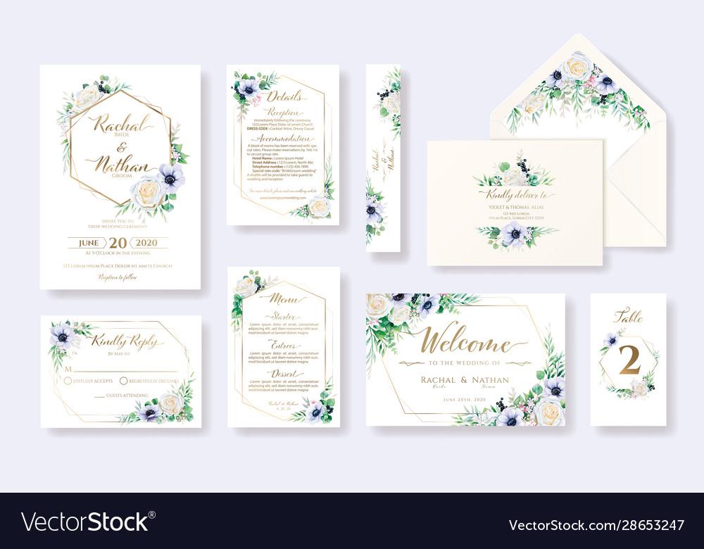 Set floral wedding invitation card rsvp