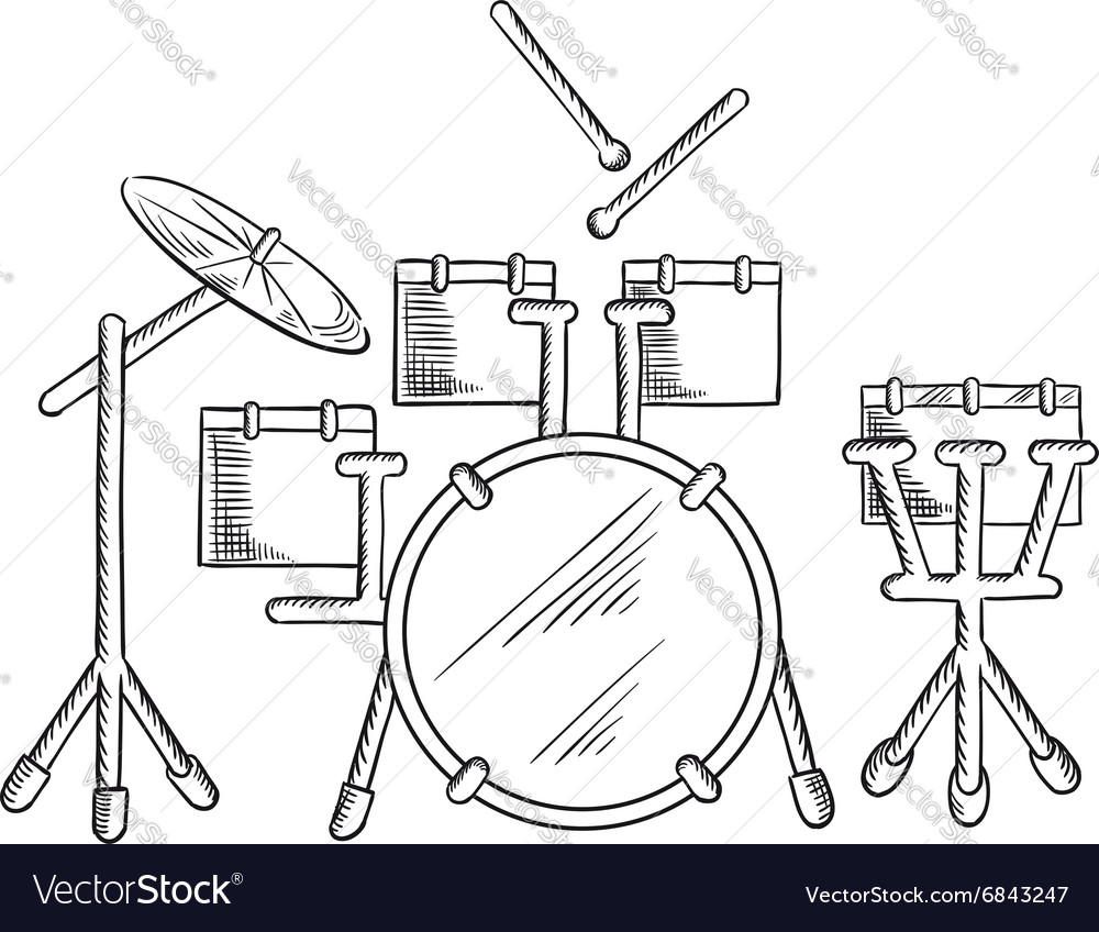 Sketch Of Drum Set With Traditional Kit Royalty Free Vector