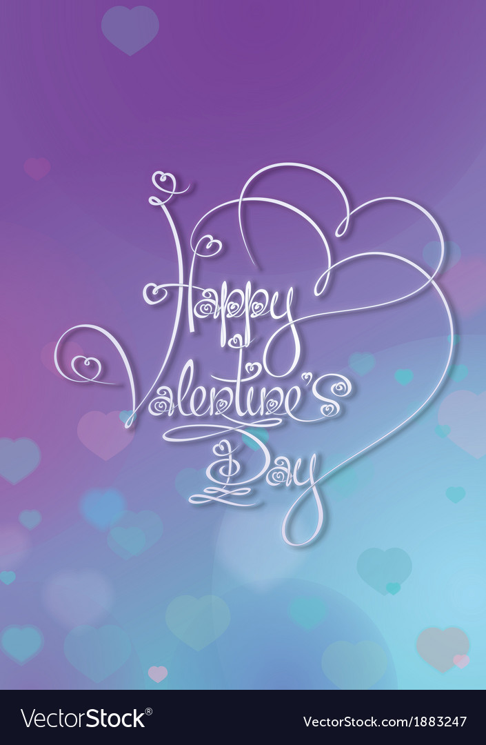 Valentines Card Happy Valentines Day Purple Blue