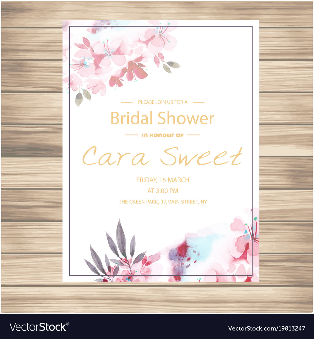 Wedding invitation pink floral vanilla colour back