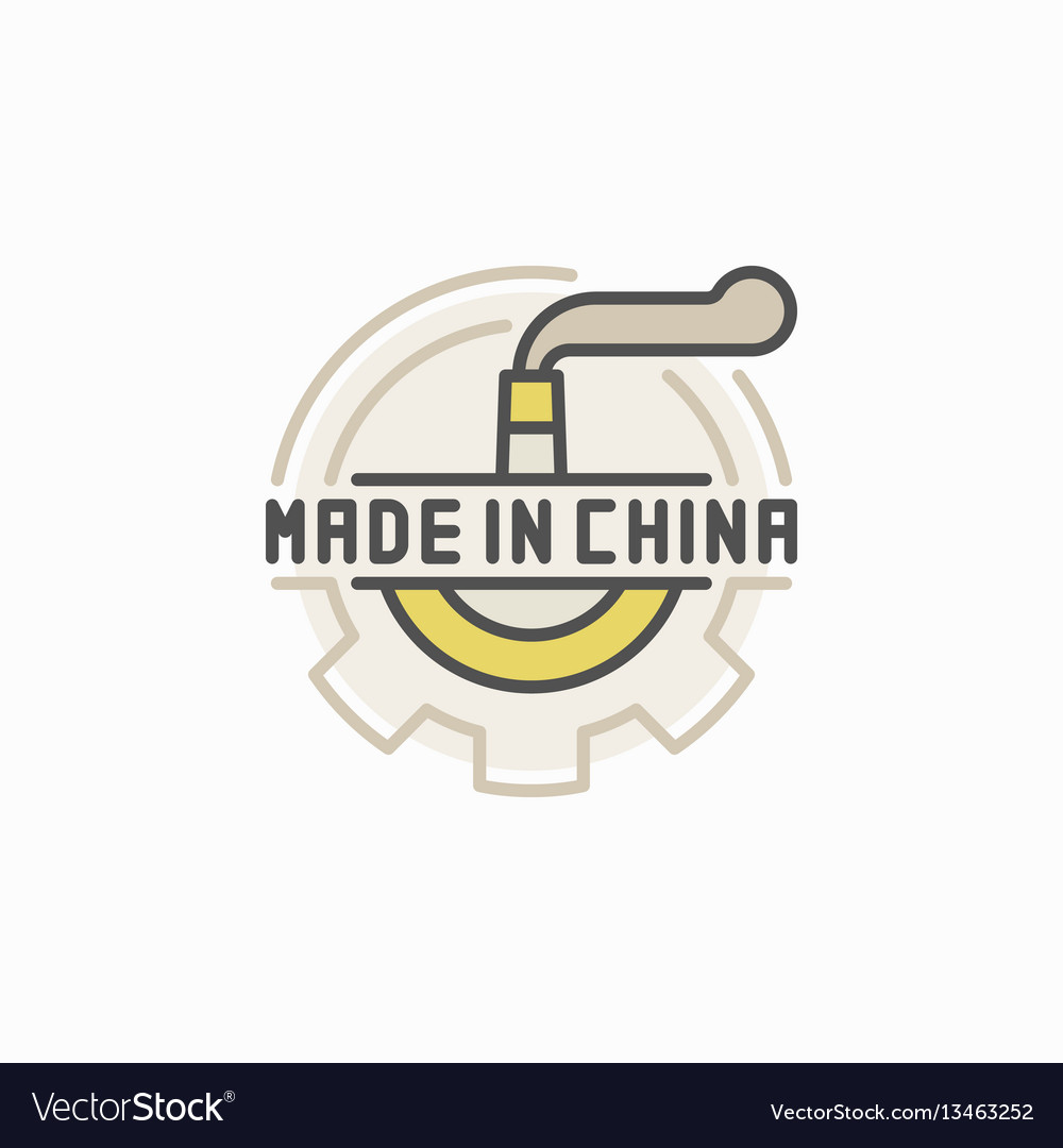 Colorful factory pipe and gear icon vector image
