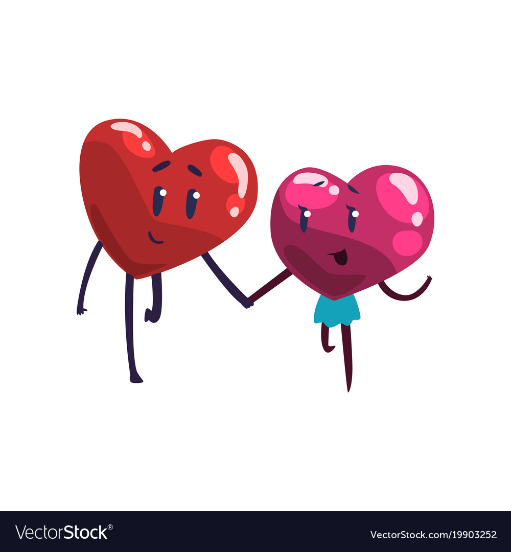 Cute red and pink hearts characters holding hands