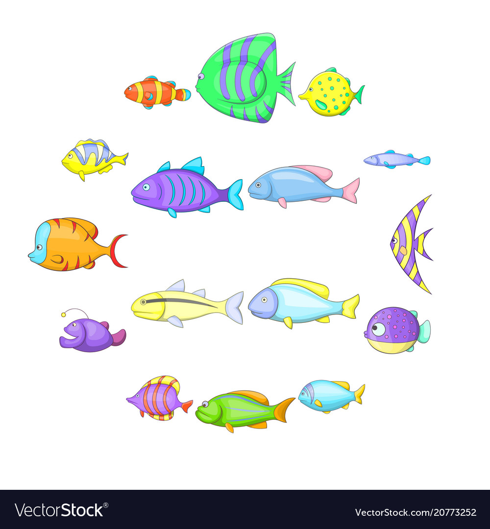 Different fish icons set cartoon style