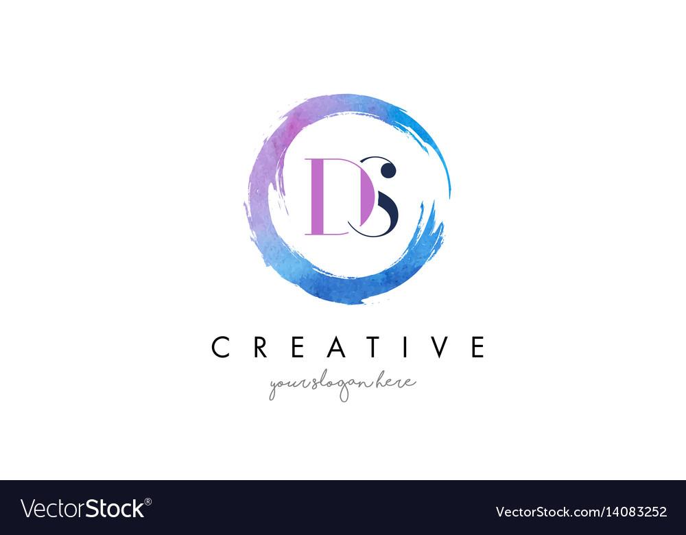 Ds letter logo circular purple splash brush