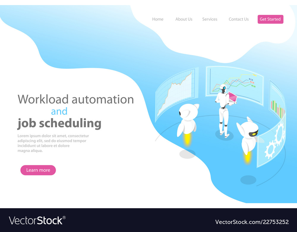 Isometric flat landing page template for