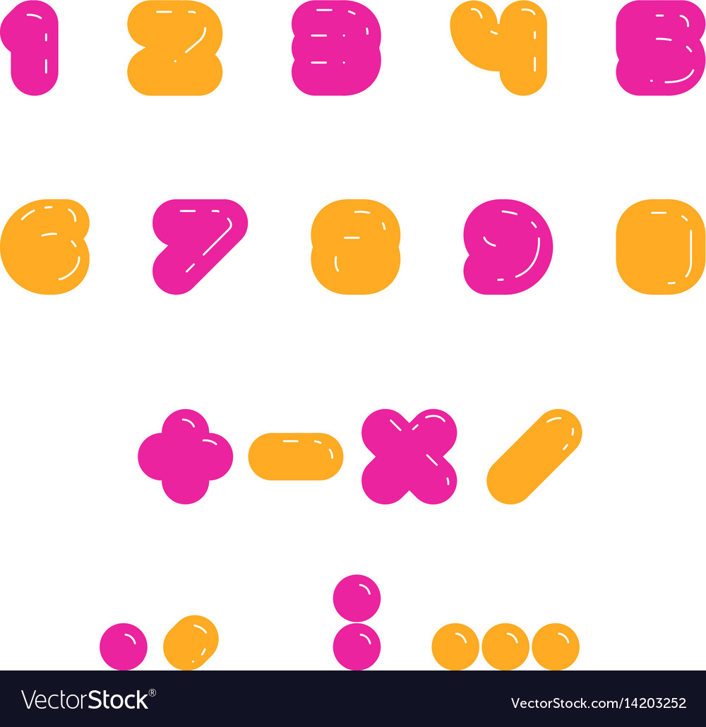 Kids multicolored set of rounded bolld numbers