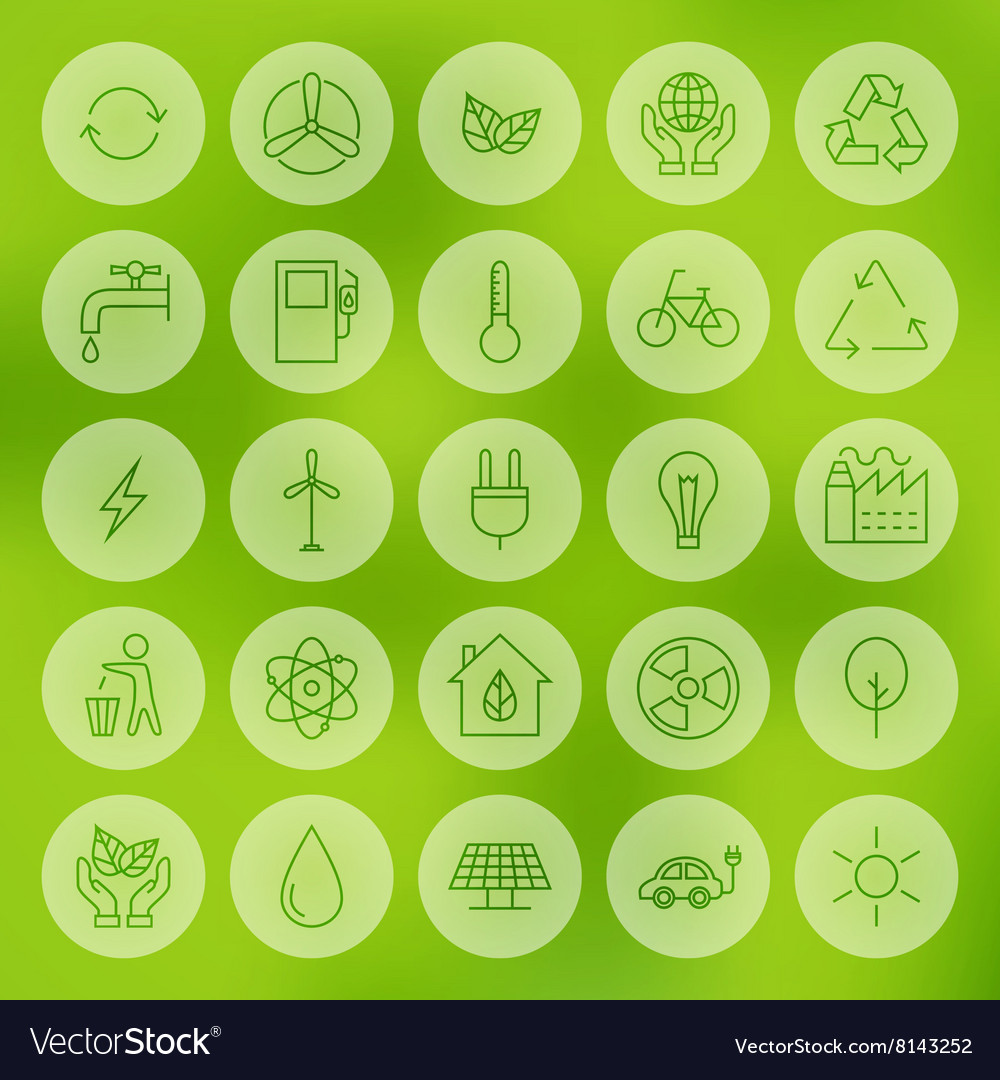 Line Circle Web Ecology Energy Power Icons Set Vector Image