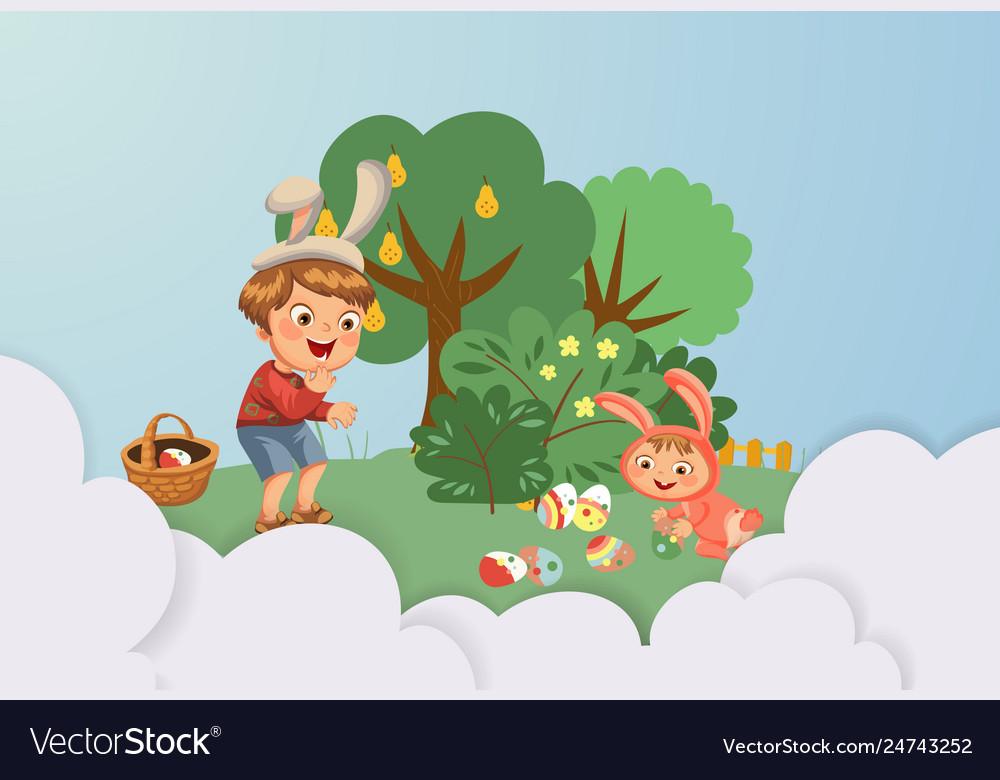 Little boy smile hunting decorative chocolate egg