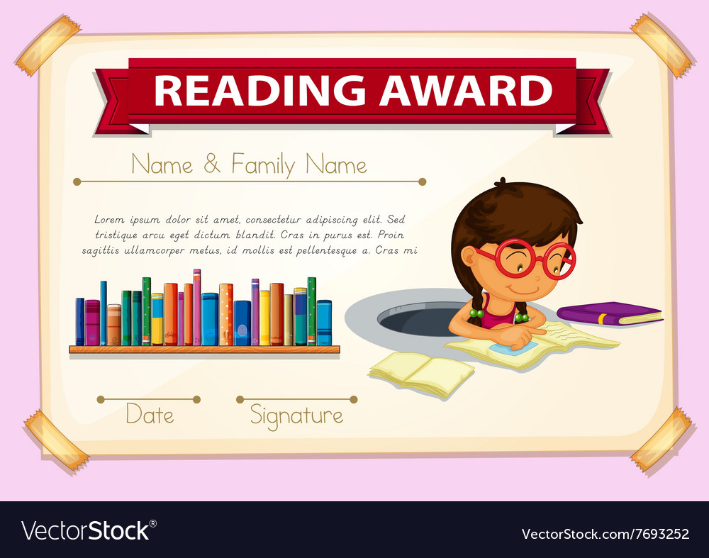 Reading Award Template With Girl Reading Vector Image
