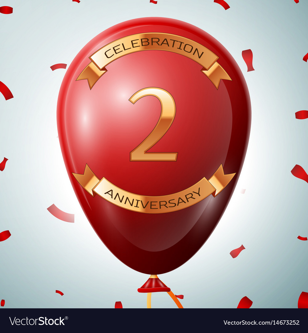 Red balloon with golden inscription two years vector image