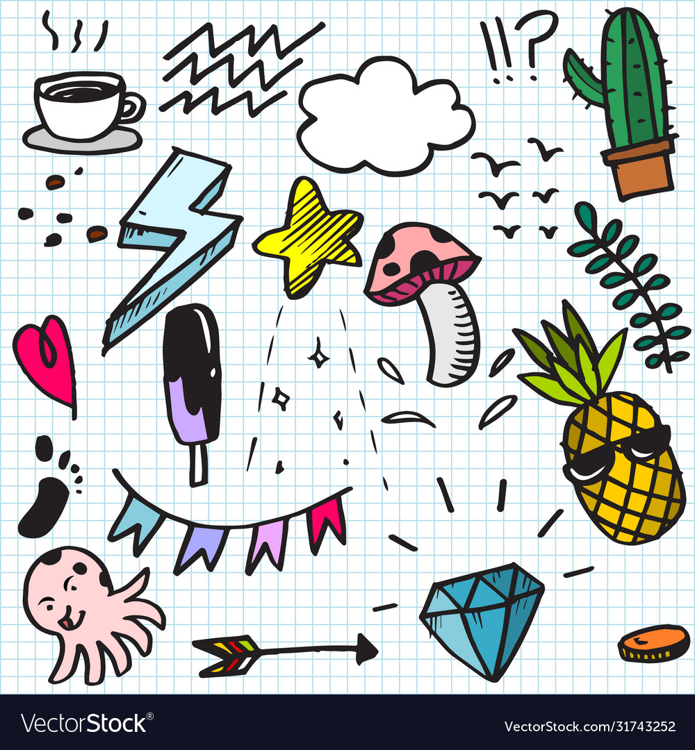 Set colorful cute doodle on paper background