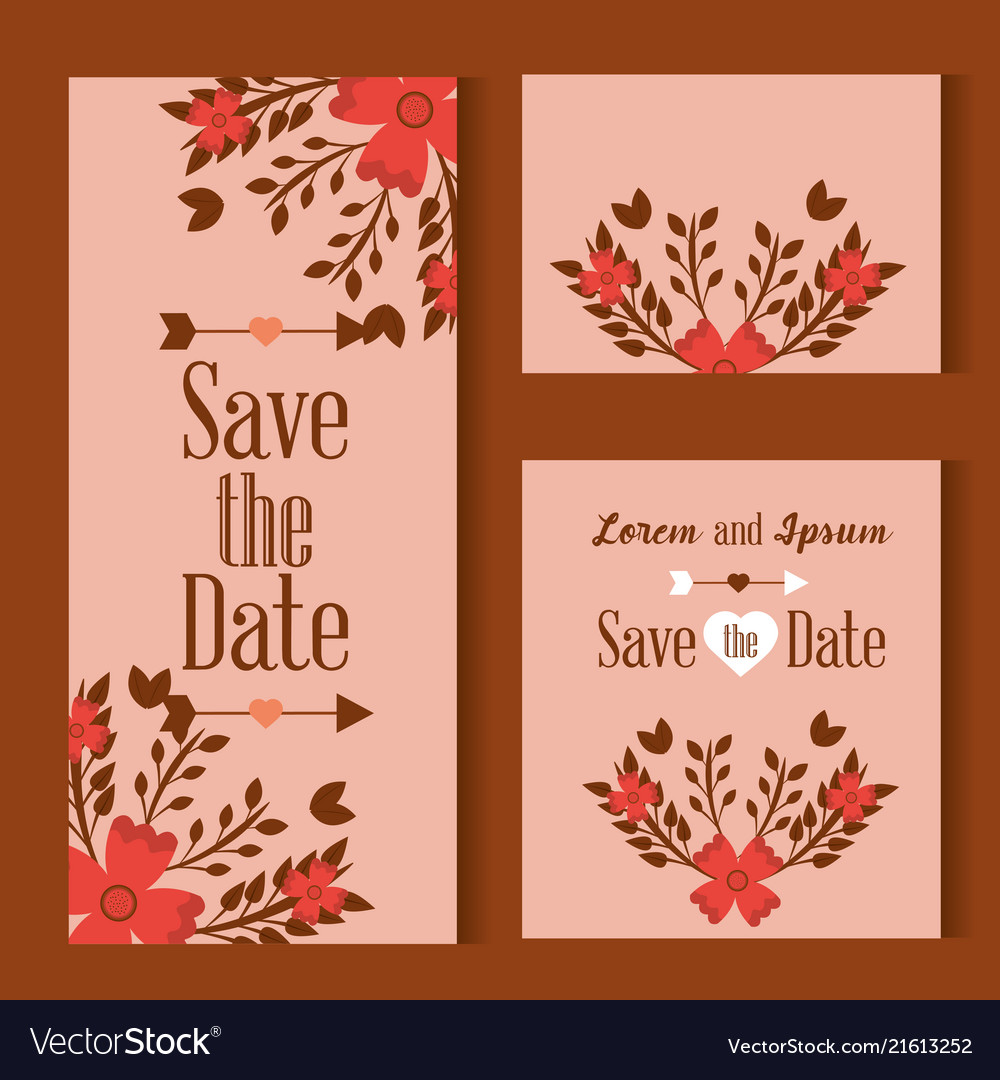 Three cards save the date decorated with flowers