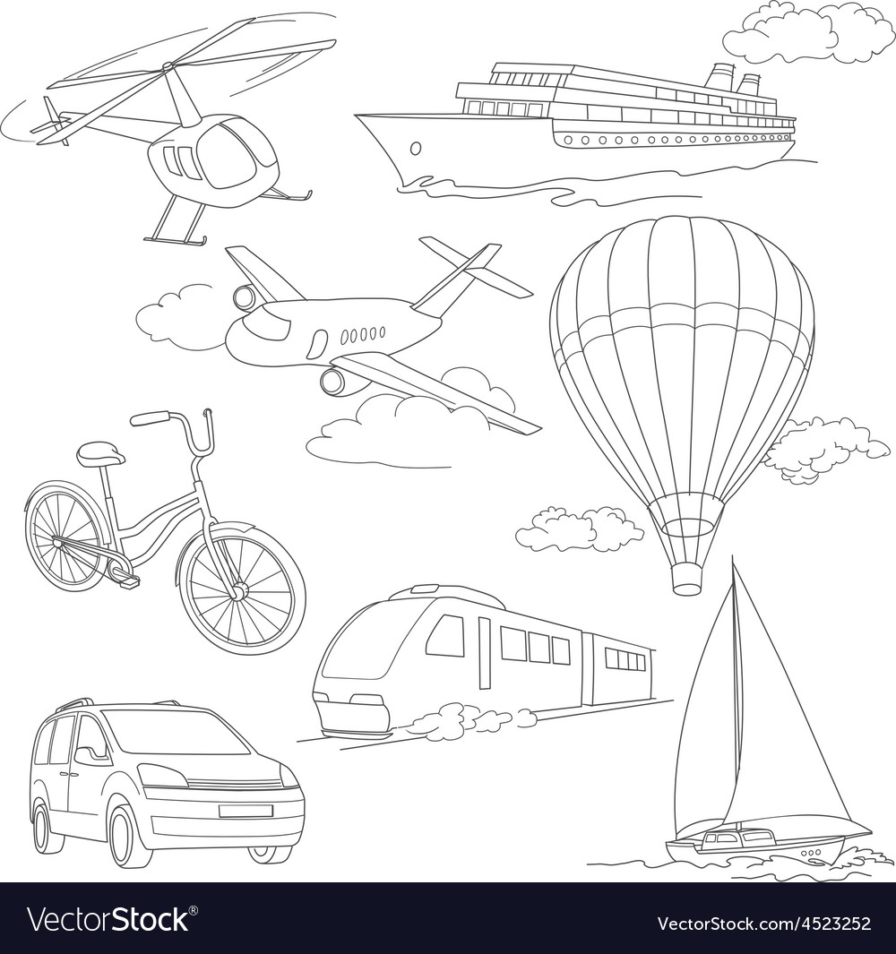 Travel set with car air-balloons ships bike