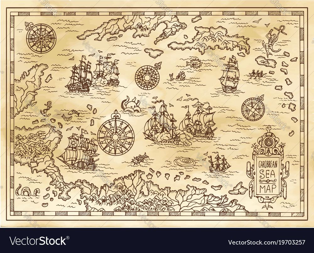 Ancient pirate map of the caribbean sea