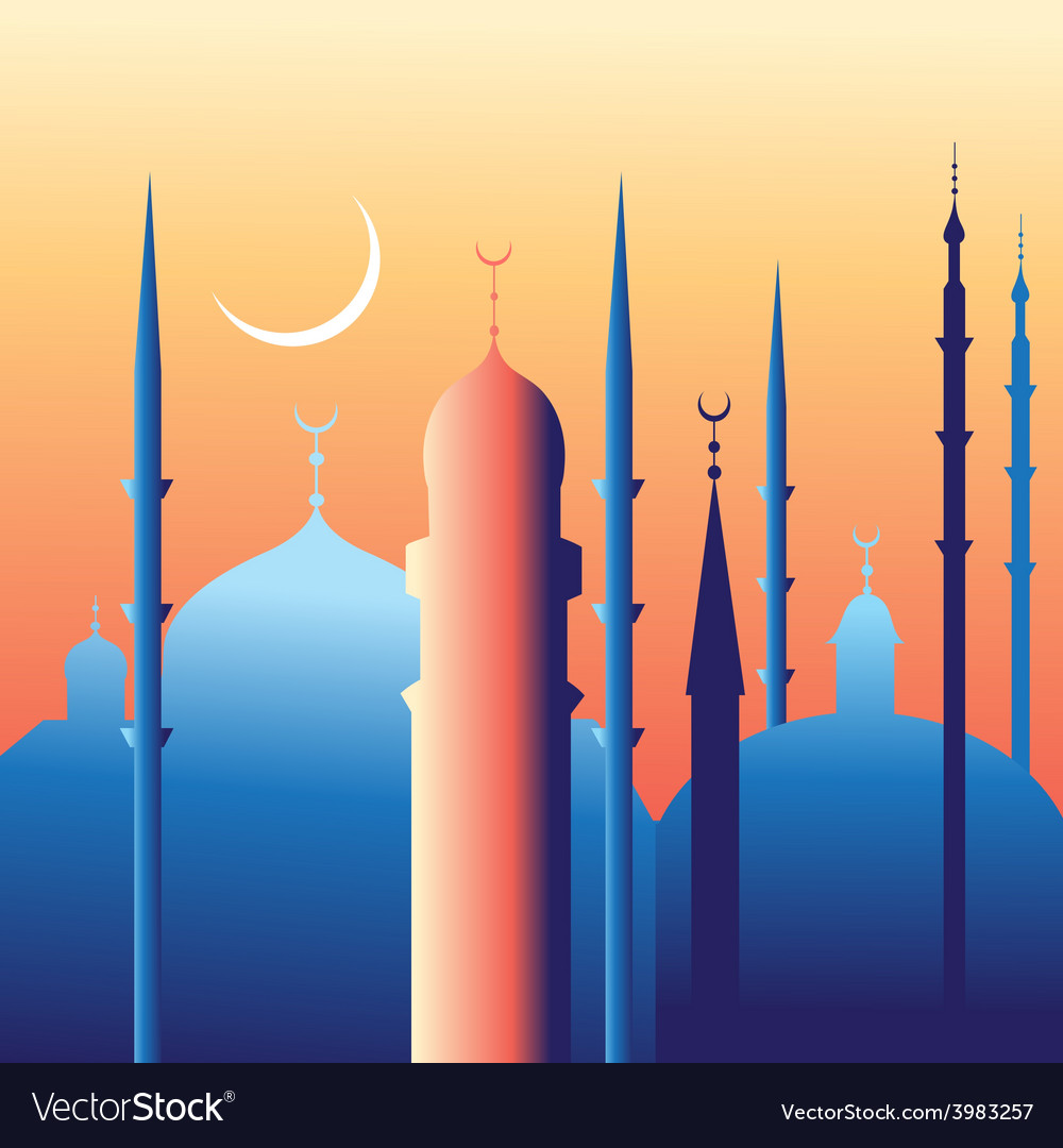 Beautiful mosques and minarets vector image