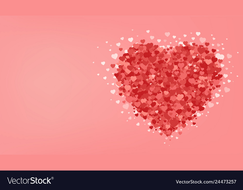 Big red heart on pink background valentines day