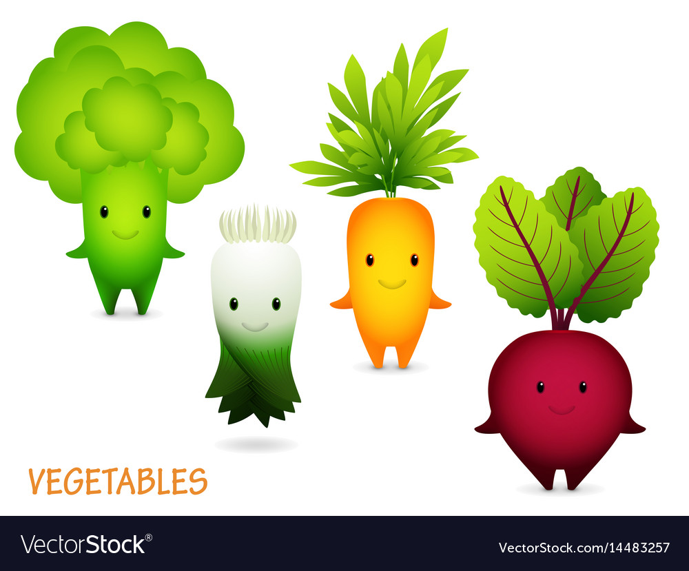 Broccoli leek carrot beet cartoon characters vector image