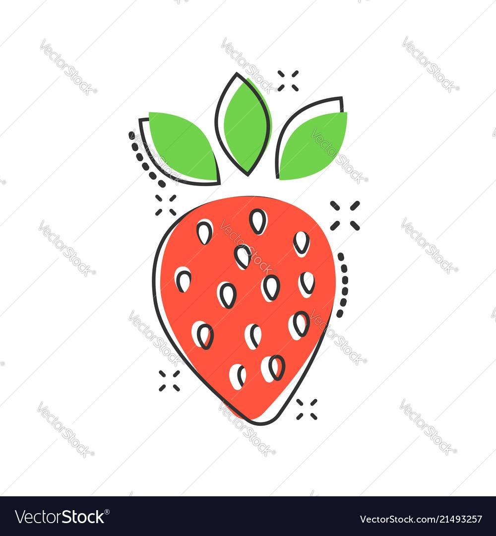 Cartoon strawberry fruit icon in comic style ripe