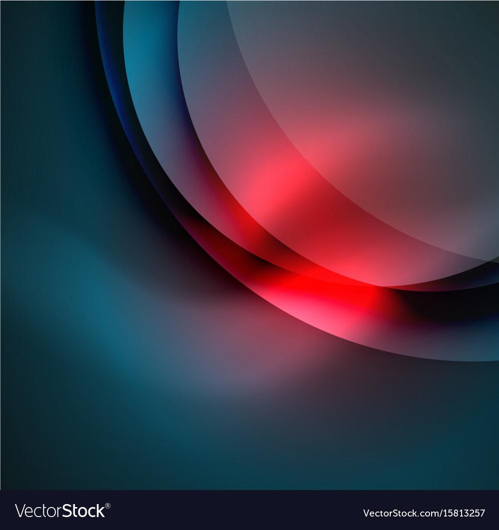 Digital glowing waves and circles vector image