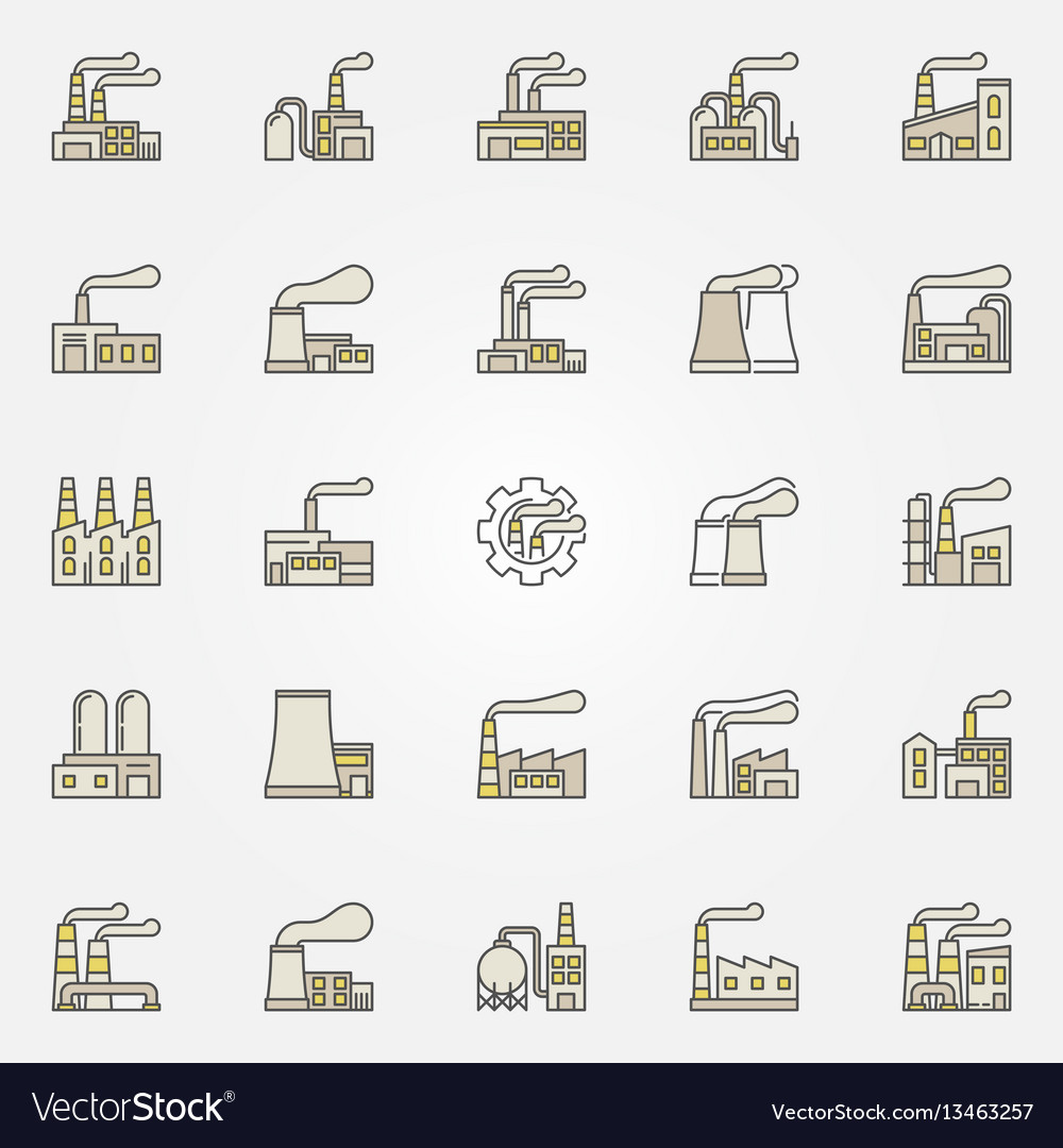 Factory and plant colorful icons