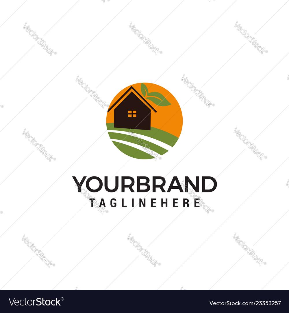 Farm House Logo Design Template Vector Image