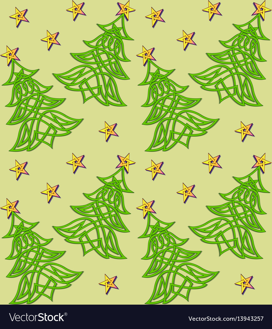 Festive background with christmas tree of celtic vector image