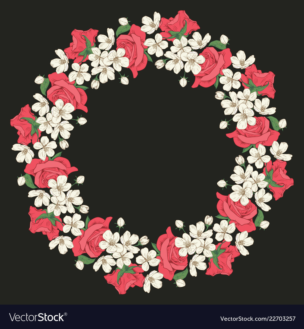 Floral round pattern on black background