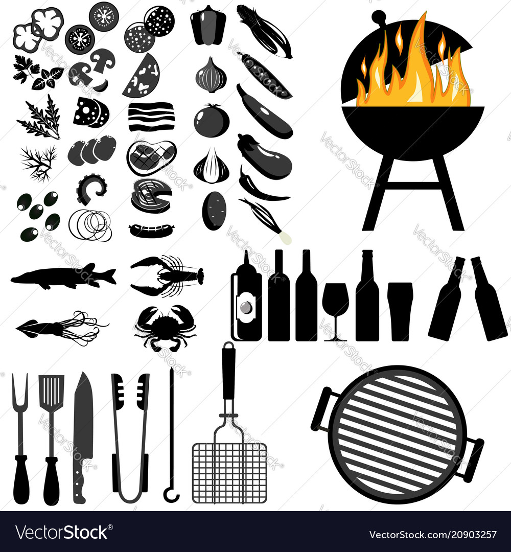Grill barbecue icon set on white background