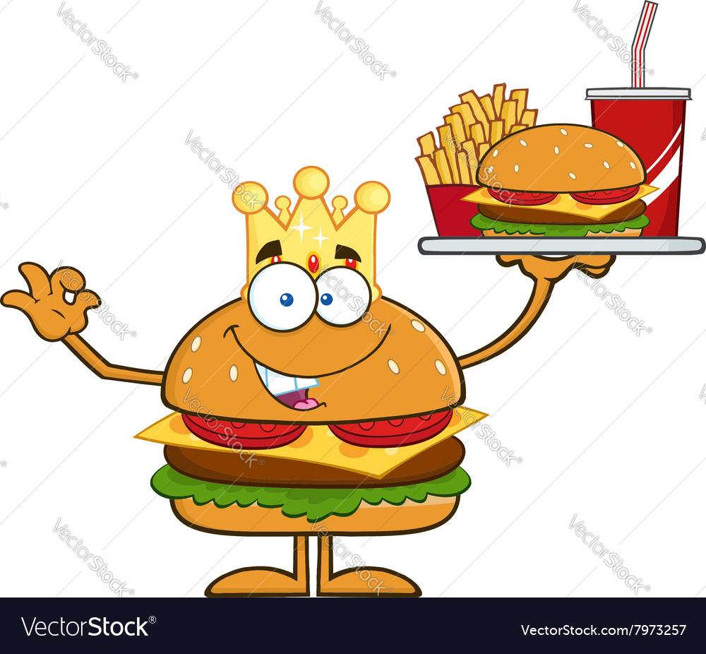 King Hamburger Cartoon vector image