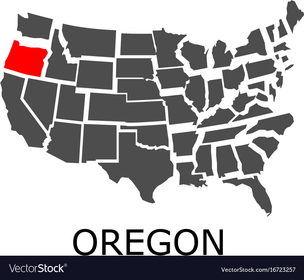 Oregon state on usa map Royalty Free Vector Image