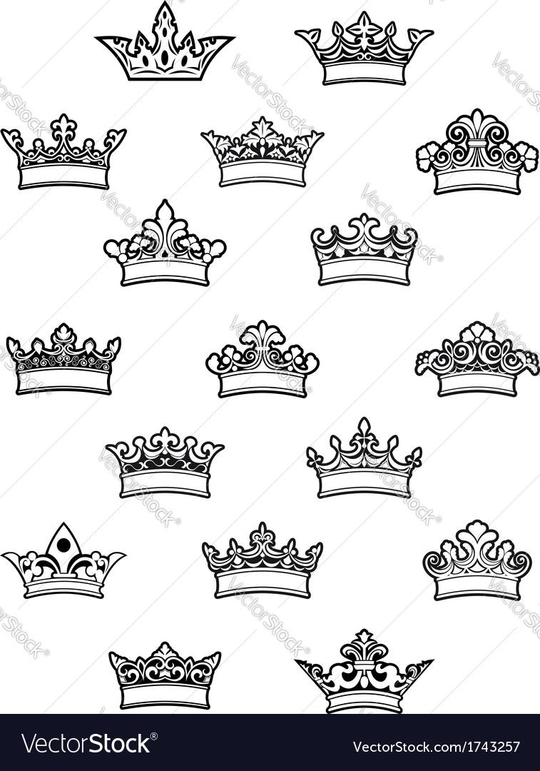 Ornated heraldic crowns set vector image