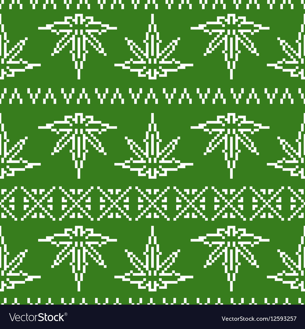 Pixel art game style sweater weed leaf seamless Vector Image