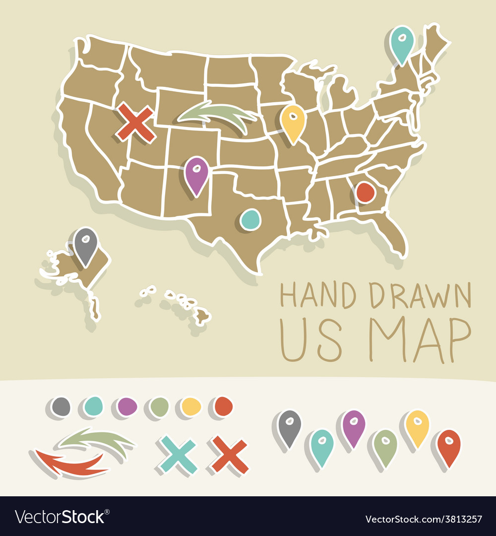 Hand Drawn Us Map.Retro Handdrawn Us Map Travel Royalty Free Vector Image