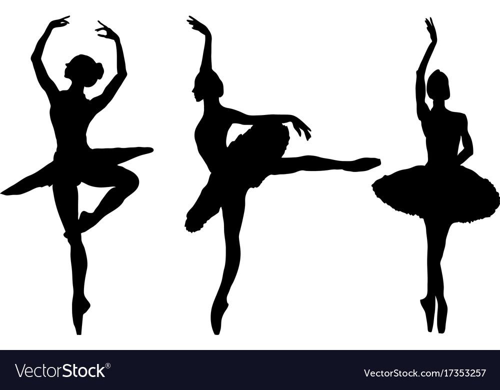 silhouettes of ballerinas royalty free vector image rh vectorstock com ballerina vector free download ballerina vector image