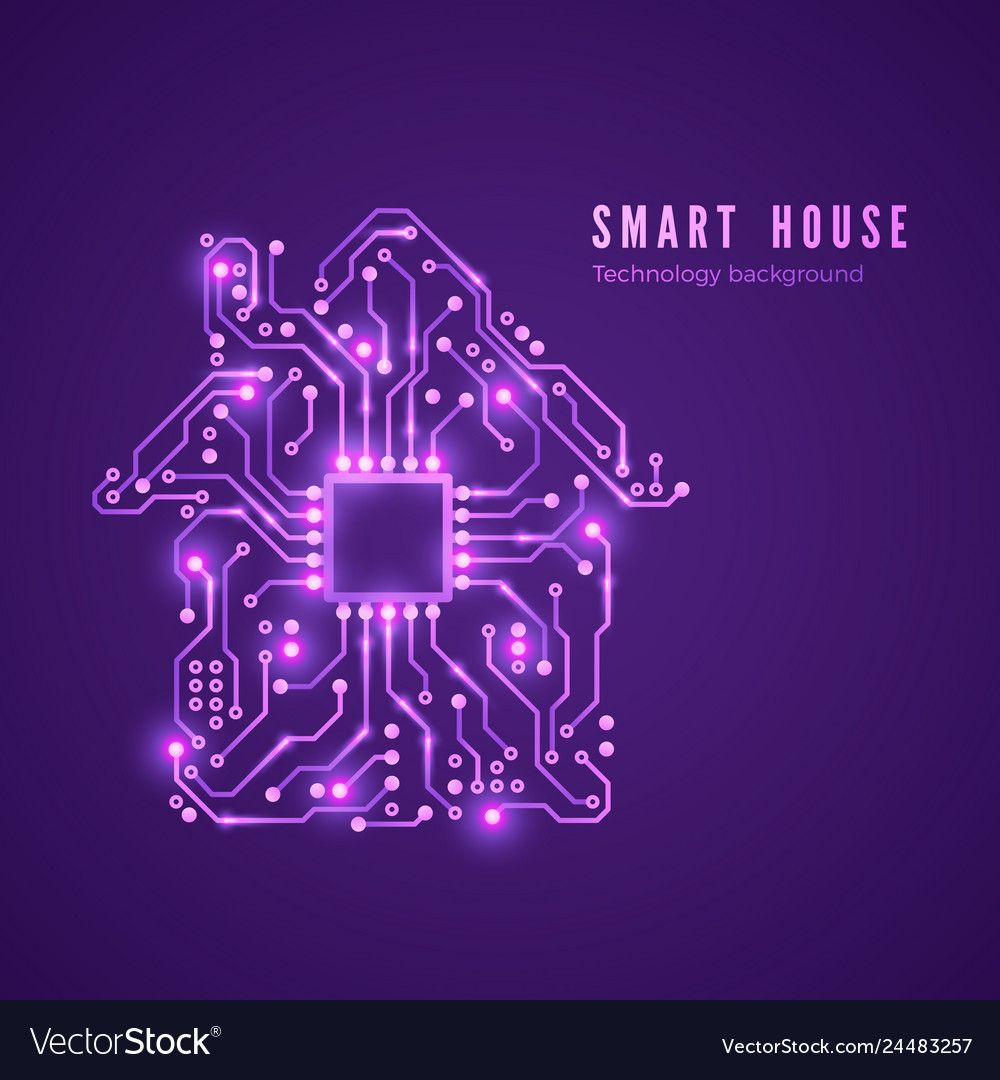 Smart house concept circuit home and cpu isolated