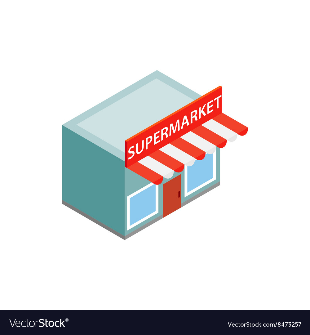 Supermarket building icon isometric 3d style