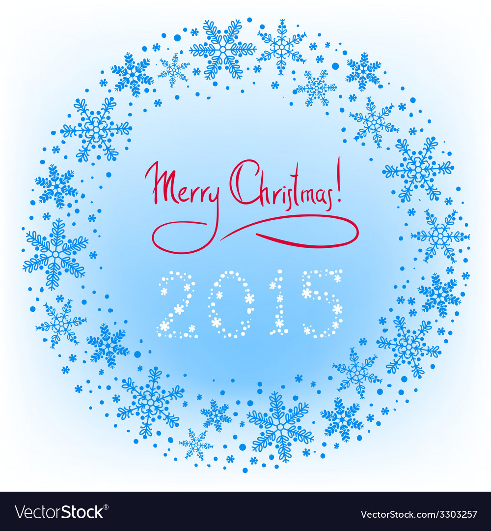 Winter Christmas wreath background with snowflakes vector image