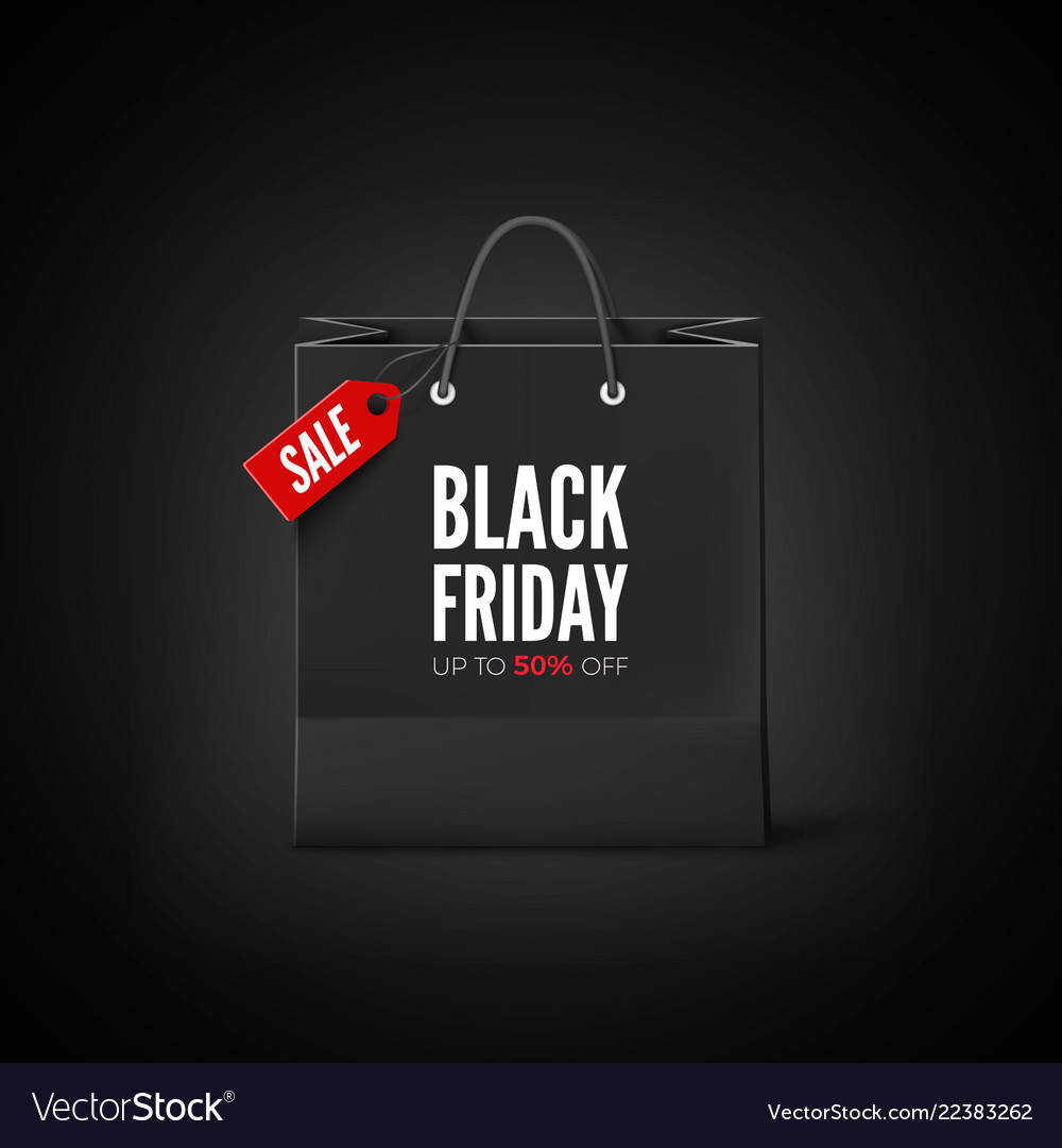Black friday banner black paper bag with tag sale