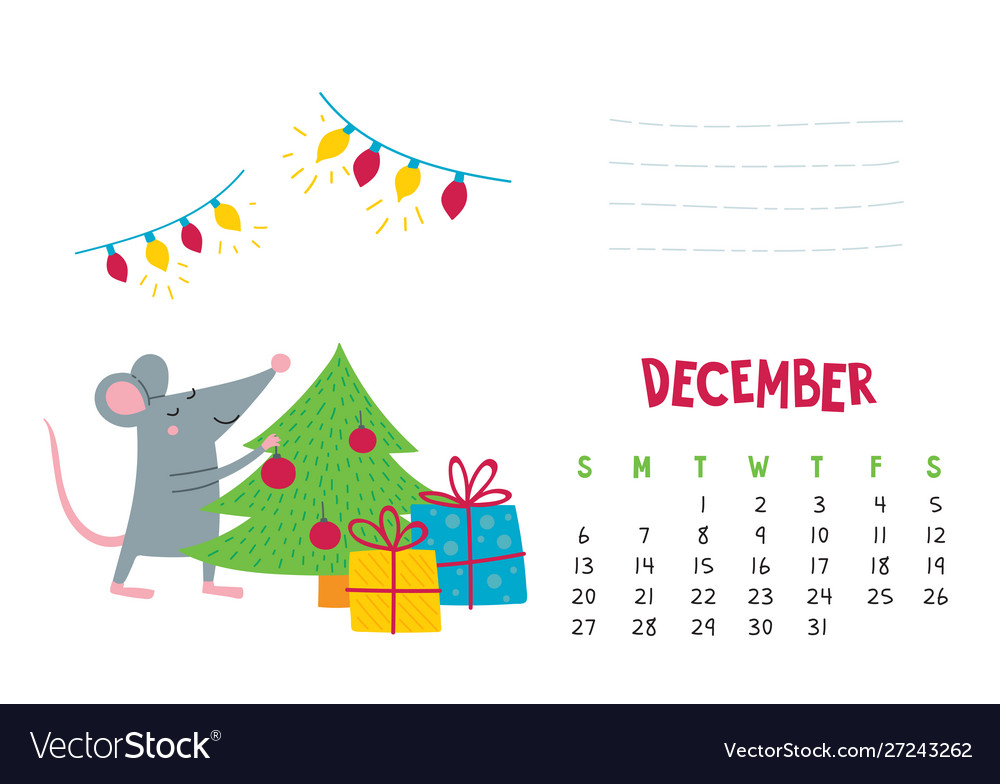 December calendar page with cute christmas rat Vector Image