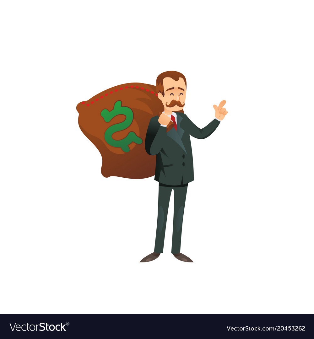 Entrepreneur character with sack of money