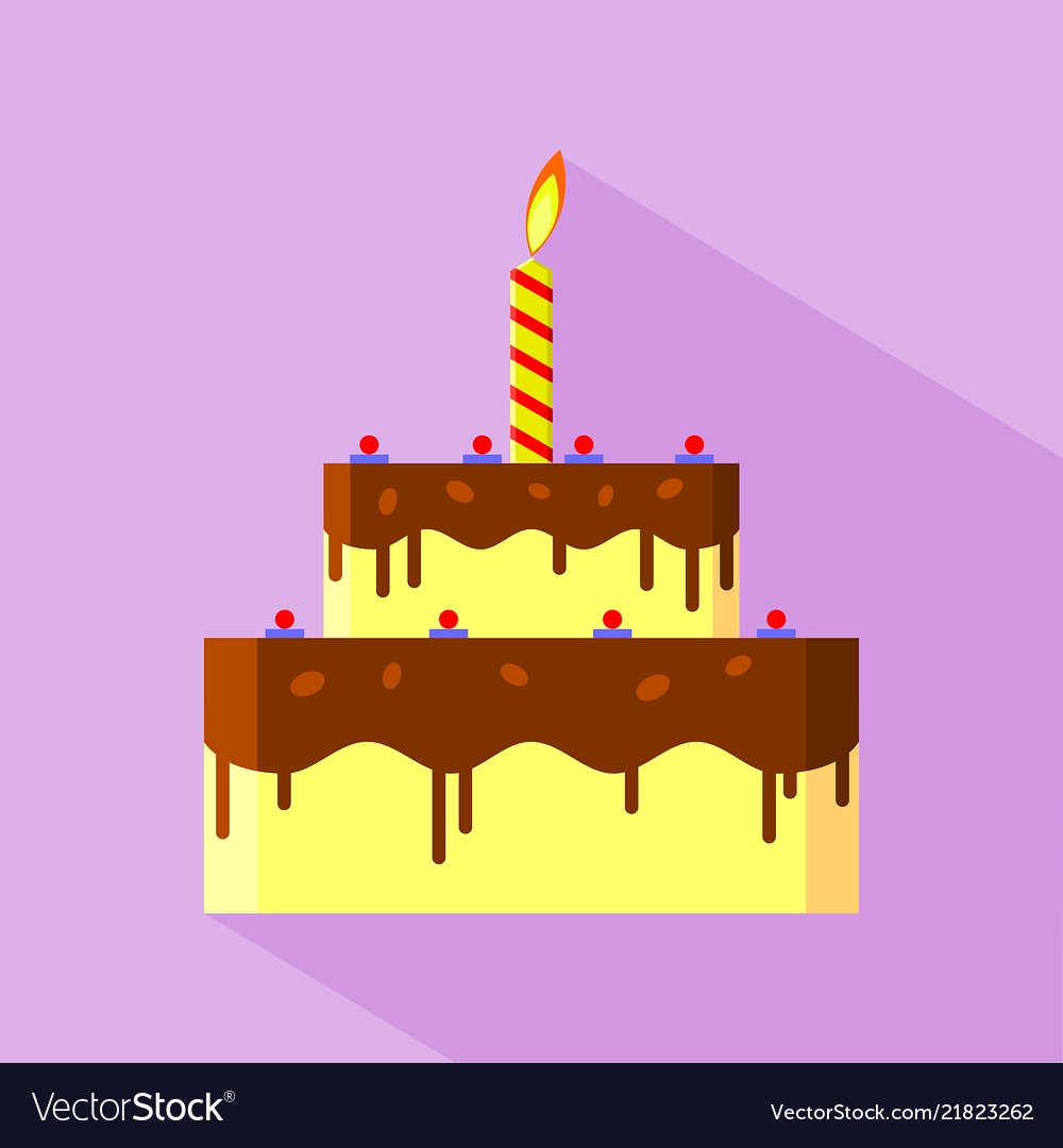 Flat Design Birthday Cake Icon Royalty Free Vector Image
