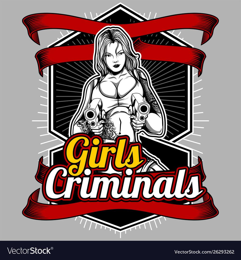 Girls criminals women handling gun hand