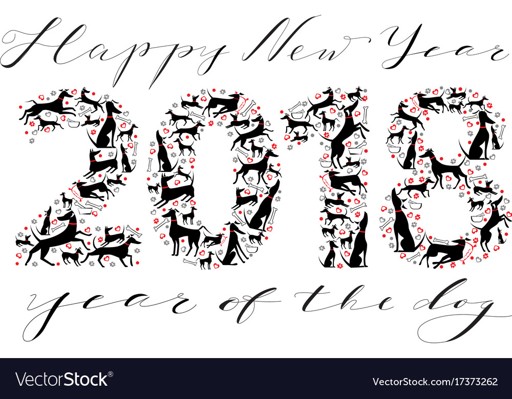 Happy new year inscription with silhouettes of