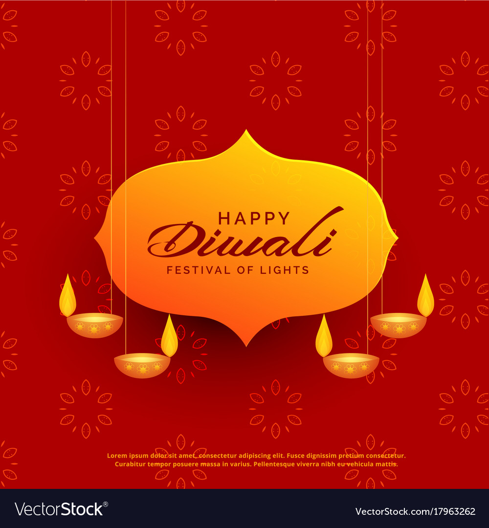 Indian diwali festival greeting card design with vector image m4hsunfo