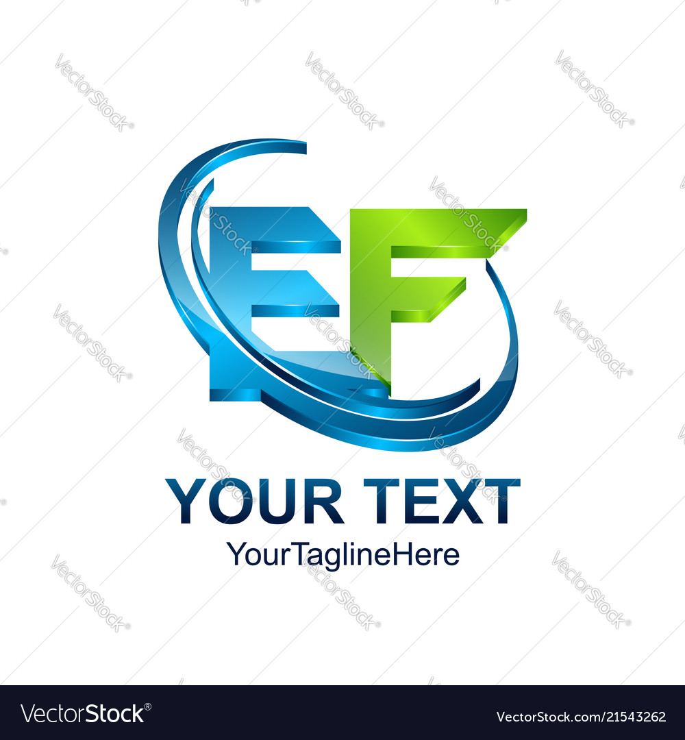 Initial letter ef logo template colored green