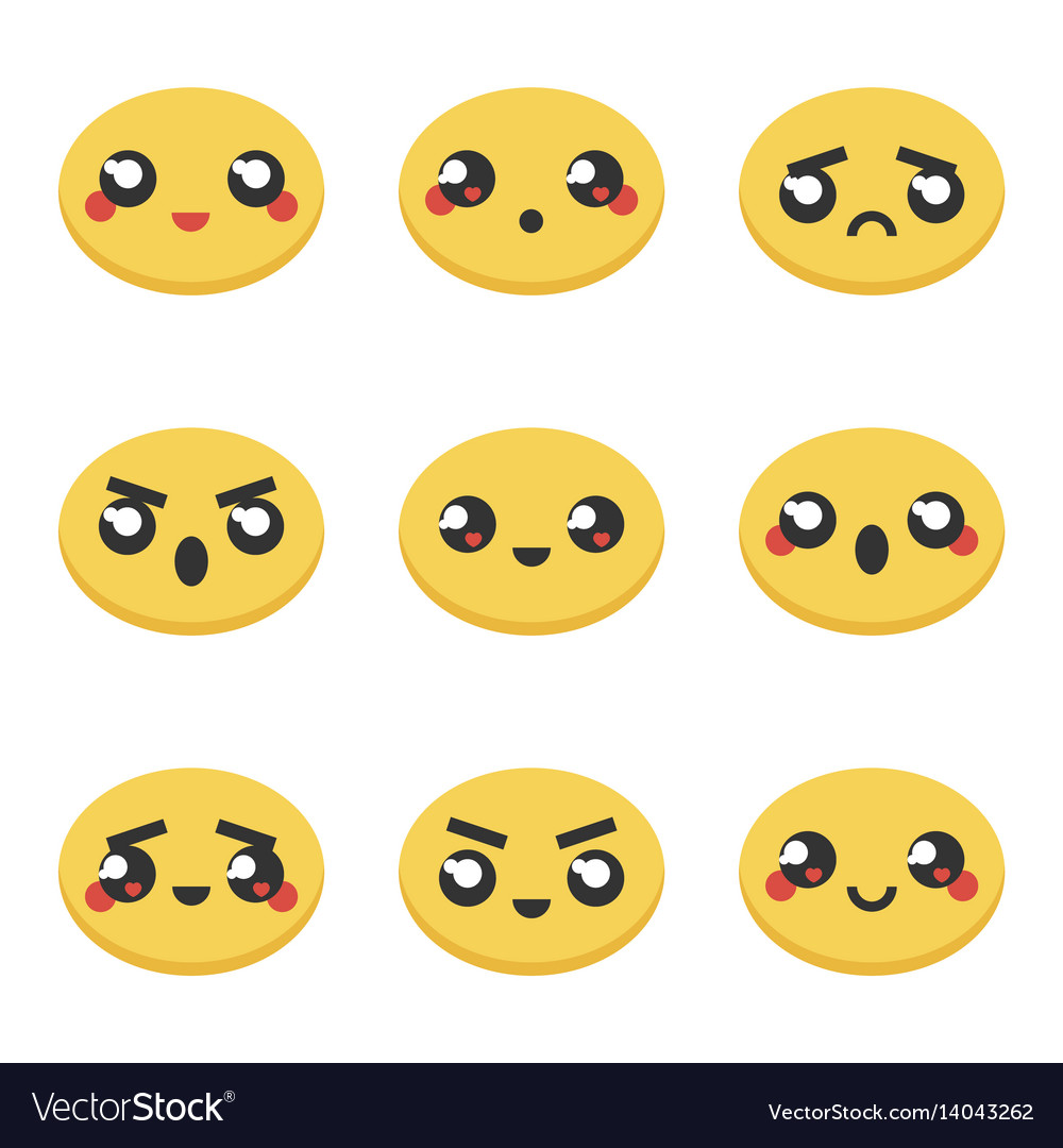 Set collection of kawaii japanese emoticons vector image