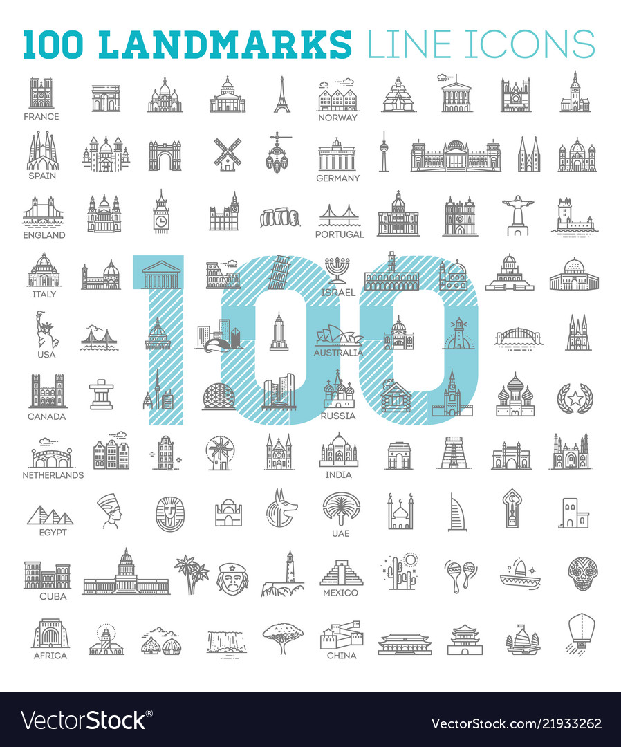 Simple linear icon set representing global