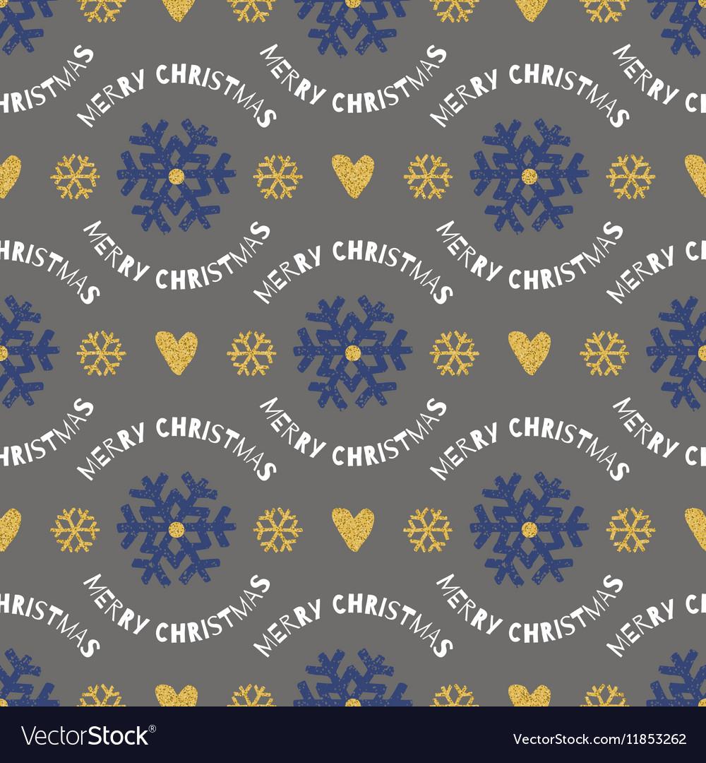Trendy Christmas seamless pattern Hand-drawn blue