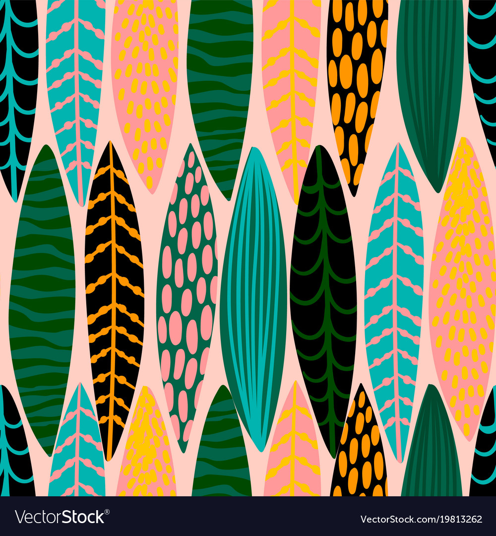 Tribal seamless pattern with abstract leaves hand