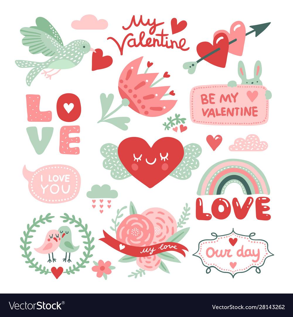 Valentines day scrapbook bird with red heart